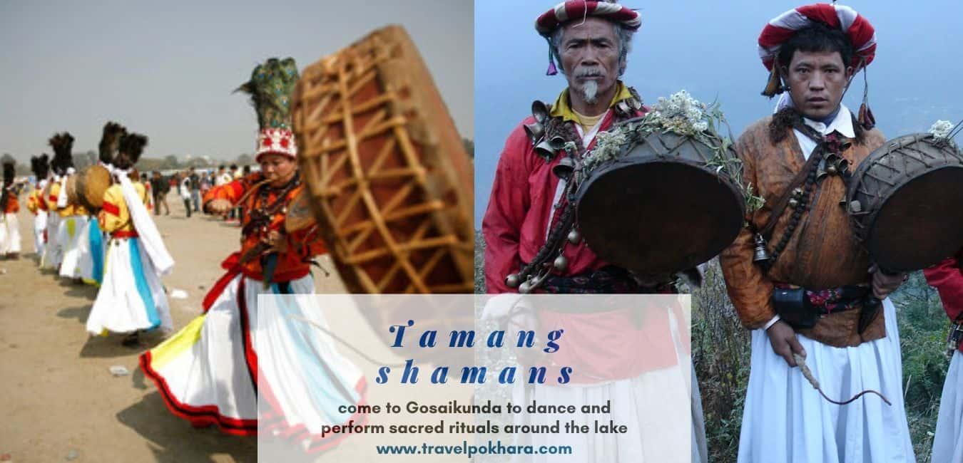 taman shaman come to Gosaikunda to dance and perform sacred rituals around the lake