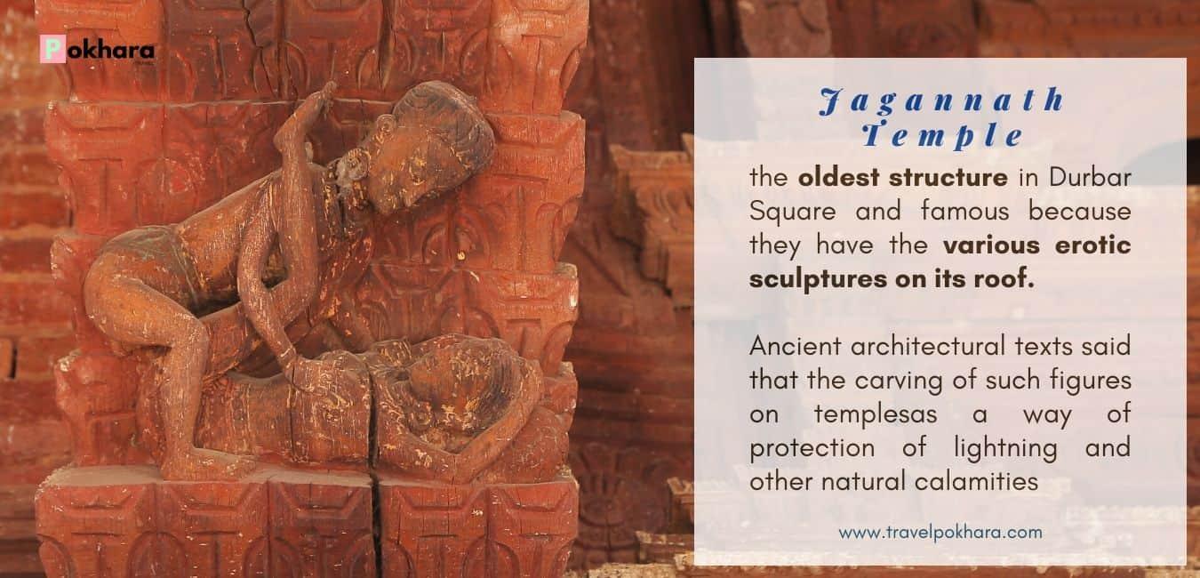 Erotic Sculpture in Hindus Temple Kathmandu Durbar Square